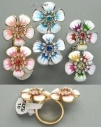 Кольцо Два цветика R001