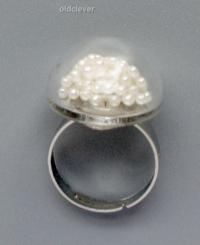 Перстень Заветное колечко, малое белое R028-2