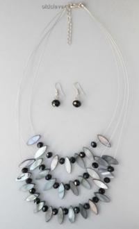 Набор Каскад, черный+перл B034-1